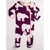 0-3 MTHS, ZEBI PLUM POLAR BEAR FOOTED ROMPER