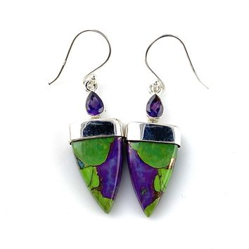 Multi-Turquoise & Amethyst Sterling Silver Point Earrings