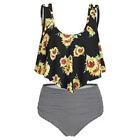 Tankini Sunflower Striped Women Swim Suit