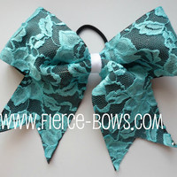 Black and Blue Lace Bow