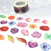 colorful flower leaf Washi tape 5M x 2cm pretty wild flower Vibrant flower tape garden flower decor sticker tape flower wrapping gift