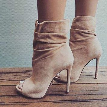 Nude Suede Open Toe Ankle Boots