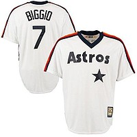 Craig Biggio Houston Astros #7 Men's Big and Tall Cooperstown Pullover Jersey White (3XT)