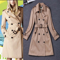High Quality! 2016 New Autumn Winter Women Trench Coat Turn Down Collar Double Breasted Belt Slim Women Long Trench Coat