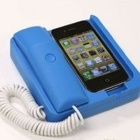 Tsirtech Phone Handset and Sync Stand for iPhone 4, 3GS, 3G, and Other Wireless Phones with 3.5 mm Headphone Jack Black Tsirtech Phone Handset and Sync Stand for iPhone 4, 3GS, 3G, and Other Wireless Phones with 3.5 mm Headphone Jack Blue