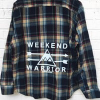 Weekend Warrior Flannel - Navy/Tan