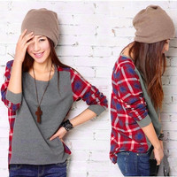 Women Cotton Long Sleeve Shirt Crew Neck Plaid Checks Print Casual Loose Top T-Shirt  7820