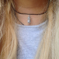 Silver Pineapple Choker Necklace - 14in Black Waxed Cotton - Brandy Melville