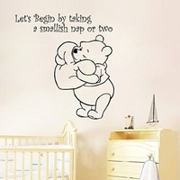 Wall Decals Quote Let's Begin By Taking Decal Heart Winnie the Pooh Vinyl Sticker Family Bedroom Nursery Baby Room Home Decor Ms330