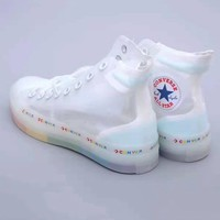 Converse fashionable neutral transparent mesh shoes with rainbow sole and high top