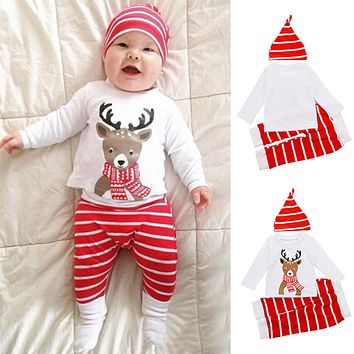Baby Toddler Boys Girls Cute Best Gift Deer T-shirt Striped Hat Pants Xmas Outfit