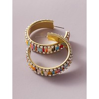 1pair Color Block Rhinestone Engraved Cuff Hoop Earrings