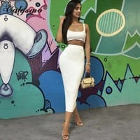 Colysmo White Two Piece Set Top And Long Skirt Sexy 2 Piece Set Women Autumn Bodycon Crop Top And Skirt Set Club Outfits 2018