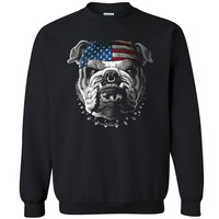 "Zexpa Apparelâ""¢ USA Flag Bandana Bulldog Unisex Crewneck Patriotic 4th Of July Sweatshirt"
