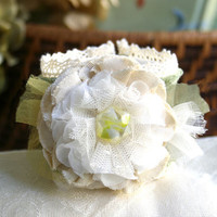 Floral Cuff Bracelet - Sage Green, Ivory White and Yellow