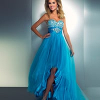 Mac Duggal 2013 Prom Dresses - Strapless Bright Turquoise High-Low Gown