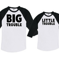 Matching Father And Baby Matching Family Shirts Gifts For Dad Big Trouble Little Trouble Bodysuit American Apparel Unisex Raglan MAT-758-759
