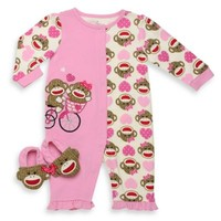 Baby Starters® 2-Piece Sock Monkey Coverall and Slipper Set in Pink