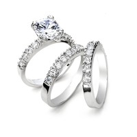 5 cts CZ 3 PCS Wedding Ring Set