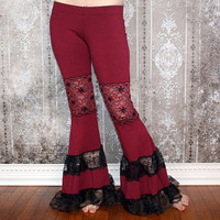 Tribalista Belly Dance Flare Pants - Burgundy and Black