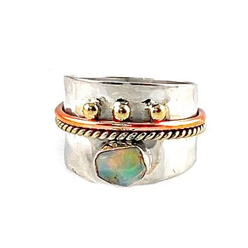 Ethiopian Opal Rough Three Tone Sterling Silver Regal Band Ring