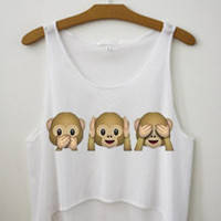 Monkey Emojis See No Evil Tank Crop Top Shirt