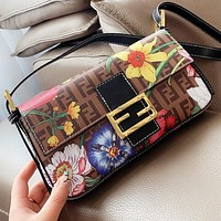 Fendi New fashion floral more letter print leather shoulder bag crossbody bag