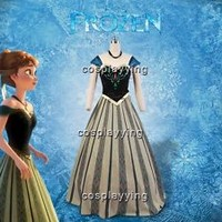 Disney Film Frozen Anna Coronation Outfit Dress Cosplay Costume Adult Suit Gown
