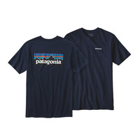 Patagonia Men's P-6 Logo Cotton T-Shirt- Navy Blue