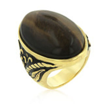 Polished Tiger Eye Solitaire Cocktail Ring