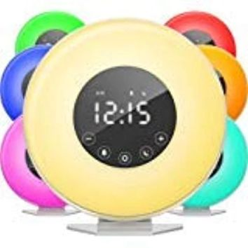Wake Up Light Sunrise Sunlight Alarm Clock with 6 Natural Sounds & FM Radio & Snooze Function and 7 Colors Bedside Lamp