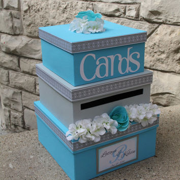 Custom Wedding Card Box, 3 Tier, Card Holder, Square, Malibu Blue and Gray