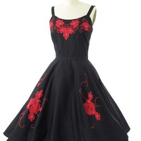50s Style Red Floral Embroidered Black Swing Dress