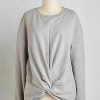 Short Length Long Sleeve A Knot to Offer Sweatshirt in Grey