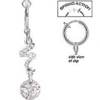 Fake Belly Navel Non Clip on Clear cz Swirl Gem dangle Ring