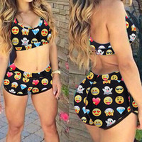 Emoji Printed Racerback Top and Jogger Short in Black