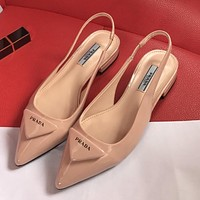 Prada new smooth patent leather triangle logo arrow slippers flat sandals Shoes Pink