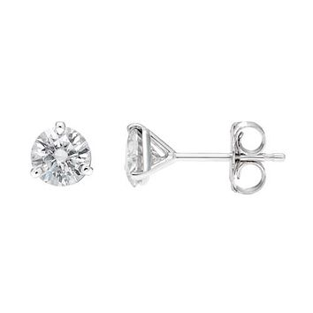 14kw 1.00ct. 5.0mm Round Moissanite 3-Prong Martini Post Earrings