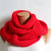 Knitted infinity Scarf. Block Infinity Scarf. Loop Scarf, Circle Scarf, Neck Warmer. Red Crochet Infinity