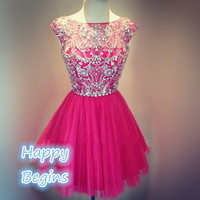 2014 fuchsia short beaded prom dress, mini party dress, cocktail dress, homecoming dress
