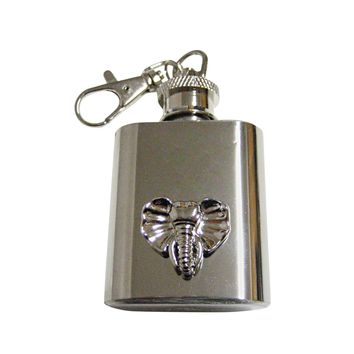Silver Toned Elephant Head 1 Oz. Stainless Steel Key Chain Flask