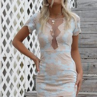 Fast Love Pastel Blue Lace Mini Dress