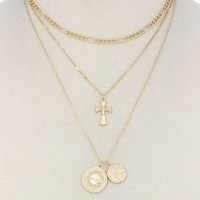 Cross charm layered metal necklace (a)