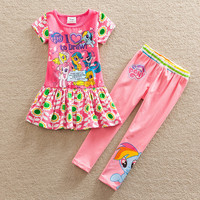 Neat spring autumn style my little pony pattern stripe cotton short sleeve dress pants baby girl suit set kids clothes TQ9115