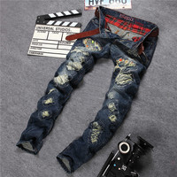 Jeans Strong Character Ripped Holes Denim Pants Straight Jeans [6544720579]