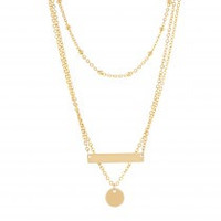 3 - Layered Hammered ID Plate Necklace