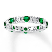 Stackable Ring Lab-Created Emeralds Sterling Silver
