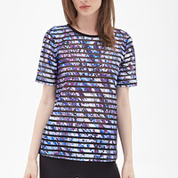 FOREVER 21 Abstract Print Mesh Tee Purple/Multi