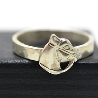Silver Horse Ring, Engravable Ring, Handmade Animal Ring, Custom Engraving, Secret Message, Personalized Jewelry, Horse Jewelry