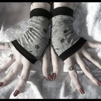 Stormy Weather Fingerless Gloves - Grey & Black Storm Clouds Lightening Stars - Lolita Gothic Vampire Hooping Dark Bellydance Emo Gloomy